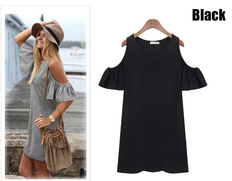 Женщины летний пляж платья дамы сексуальное с коротким рукавом хлопок серое платье новый бренд женщина свободного покроя джерси о-образным вырезом топы одежду