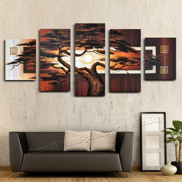 Us 42 41 15 Off Hand Painted Wall Art Tree Sunshine Red Sun Mountain African Decoration Abstract Landscape Oil Painting On Canvas In