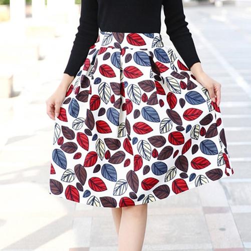 Новый женский весна осень отпечатано бальное платье юбки мода женские старинные высокой талией юбки азии / Tag размер S-XL