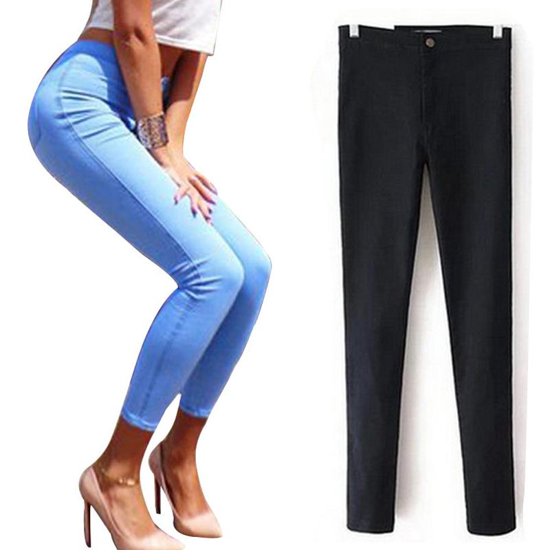 High Waist Jeans For Women Denim Jeans Woman 2016 Black Pencil Women s Jeans Femme Blue