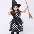 New 2016 New Baby Girl Cosplay Cute Black Dot Dress Set Performance Clothing Set Cotton Dress