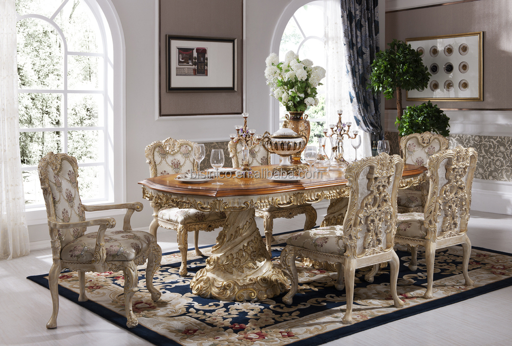 Dining Sets Tuscany Solid Wood Large Dining Set Table 6 Chairs: Luxury Dining Table Sets