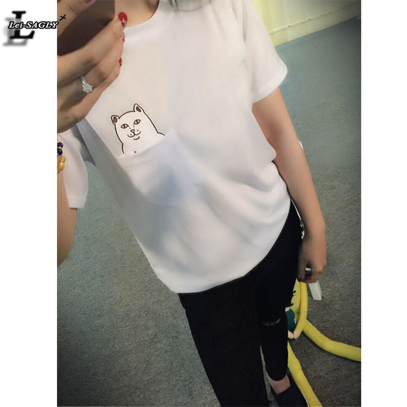 2016 New Fashion White Pocket Harajuku Style T Shirts Wild Cat Lovers Big Yards Women Wear