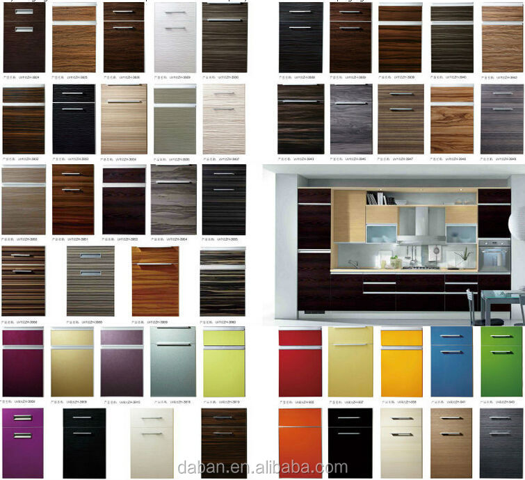 Solid Wood Pvc Mdf Frame Door High Gloss Acrylic Kitchen
