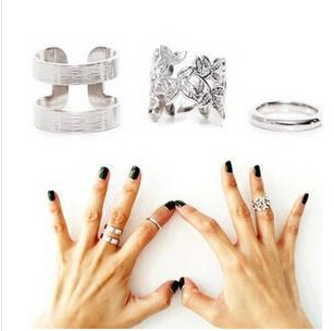 New 2015 3pcs Fashion Women s Metall Gold Silver Leaf Above Knuckle Finger Ring Set