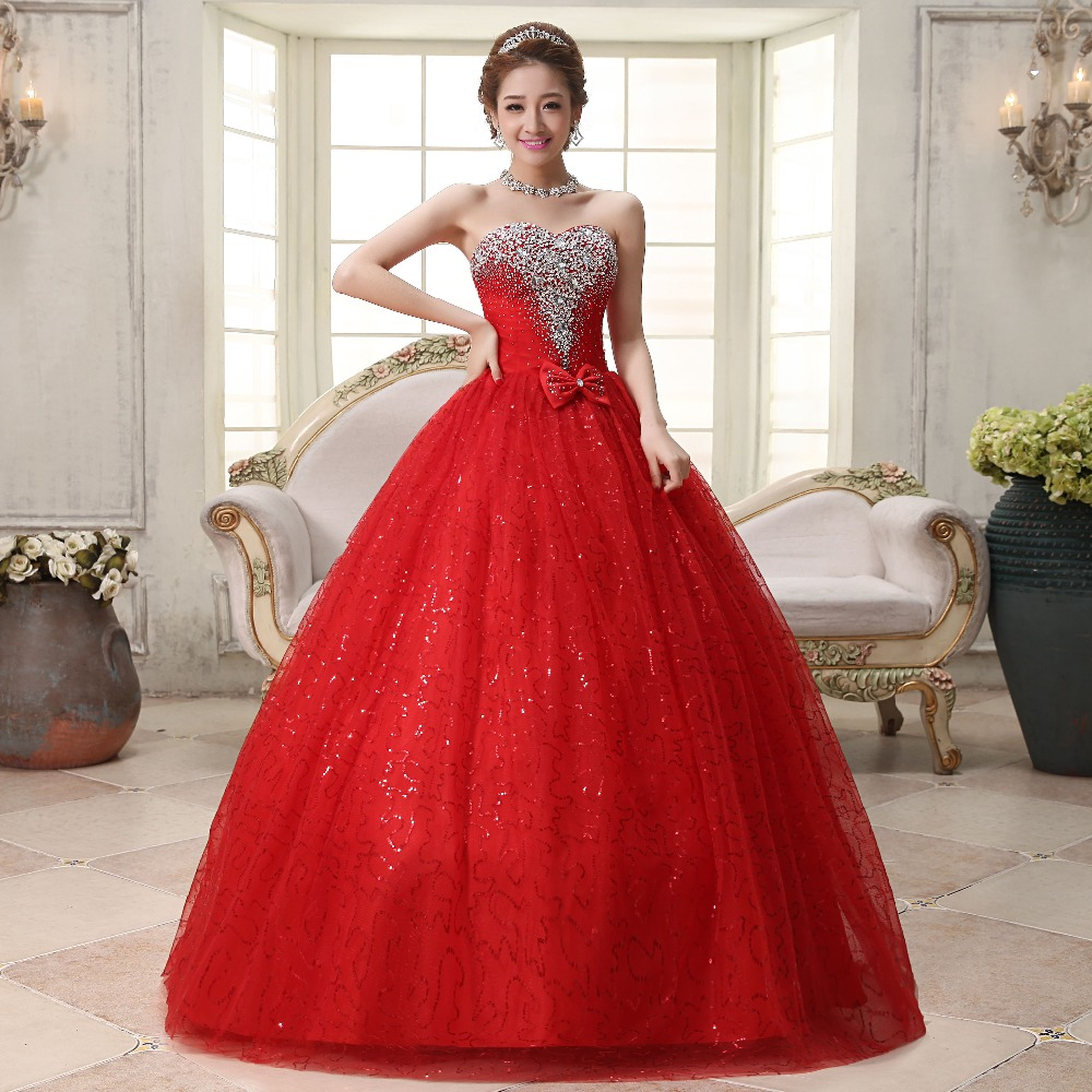 Real photo Customized 18 Korean Style Sweet Romantic Classic Lace Red  Princess Wedding Dress Strapless Mariage Wedding Gown
