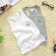 Hot Sale 2015 Free Shipping Baby Clothing Boys Girls Tank Top 100% Cotton Kids Outwear 2 pcs/lot Gray White