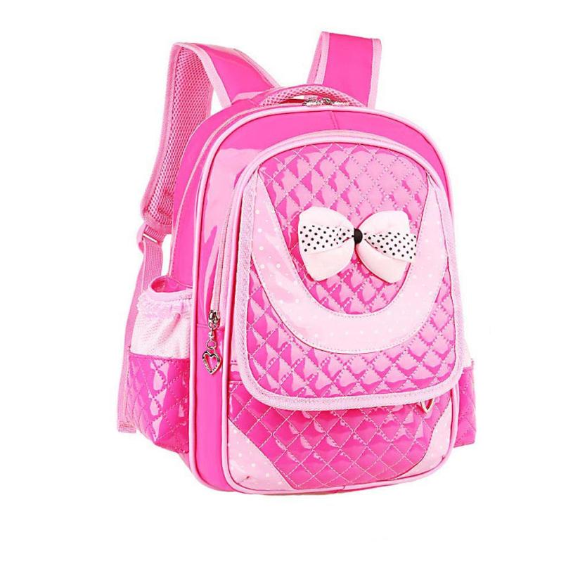 New brand backpacks child 2015 quality school Bag Leather kids bags girls Hot Pink Blue Black