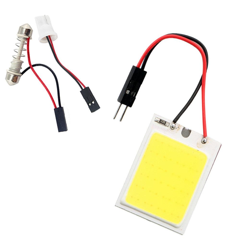 Бесплатная доставка! 50 PCSs / Lot 24 СМД COB чип 24LED 12 В плафон с T10 + фестона адаптеры белый автомобиль автомобиля из светодиодов панели лампы