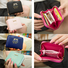 2015 Fashion Lady Coin Purse Colorful PU Leather Zip Around Women Wallets Card Holder Mini Pouch Bag Free Shipping T#3T