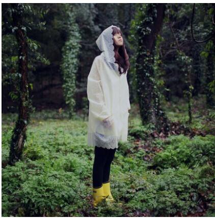 2015 мода плащи мода длинные тпу просвечивание кружева плащ женщины водонепроницаемый плащ женский дождь пончо путешествия капа d