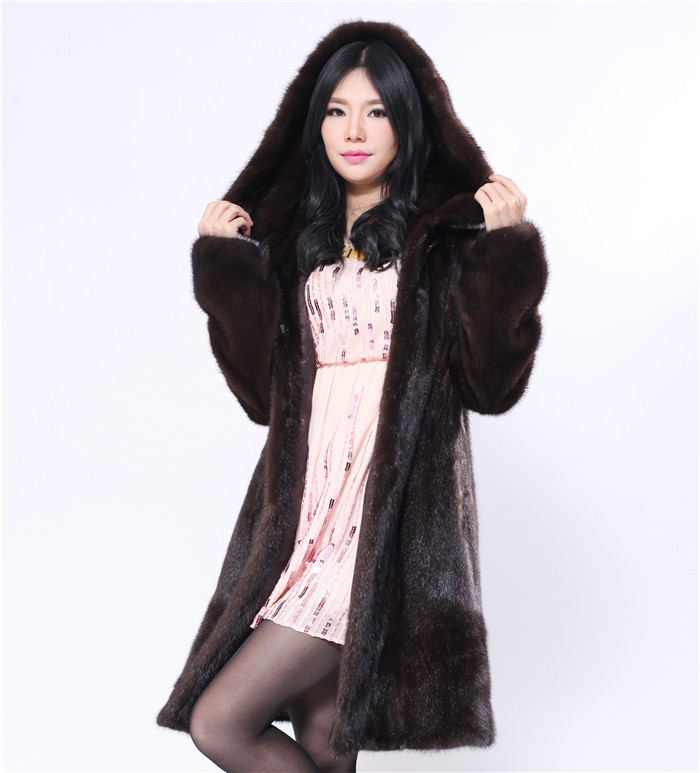 natural fur mink coat with large size 6xl genuine fur coat with a hood dark brown