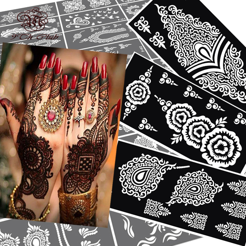 Wrist Henna Tattoo Stencils: 10 Pcs Henna Tattoo Stencils Mehndi Indian Templates