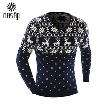 OASAP 2015 New Arrival Sweaters Stylish Deer Animal Print Knitted Long Sleeve Sweater Men Sweater Male Sweaters Pullover-88332