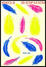 New design body jewerly sexy noctilucent feather tattoo pub special tattoo flash tattoos tatuagem maquiagem decals