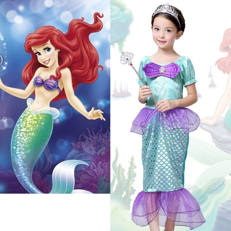 2016 New Fashion Baby Girls Little Mermaid Costume Bow Ariel font b Fancy b font Princess