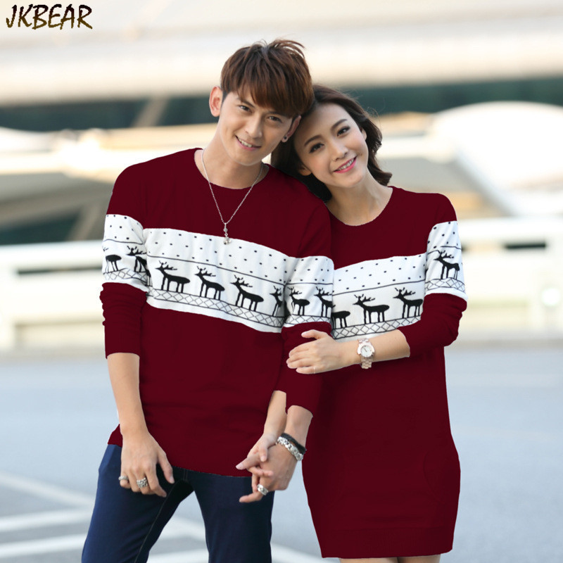 Christmas Sweaters For Couples.2019 Wholesale New Arriving Matching Christmas Sweaters For Couples Plus Size Cute Reindeer Snowflake Pattern Pullovers With Pocket Xs Xxl From Salom