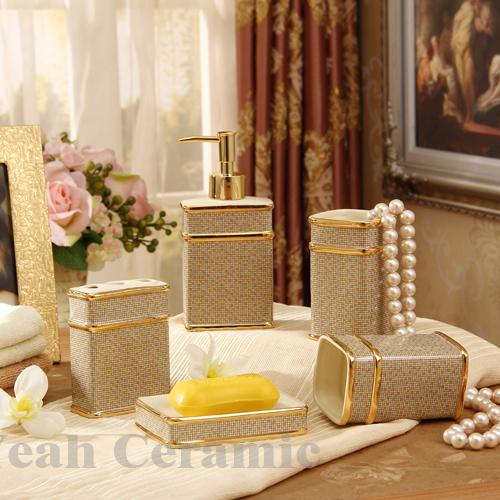 Elegant Bathroom Sets: Porcelain Bathroom Sets Ivory Porcelain Mosaic Design Five