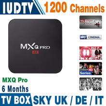 Hot Sale Android Sky Italy UK DE IPTV Box MXQ PRO Free 6months 1200 Live TV  IPTV Set Top Box Sky Italy apk Account included