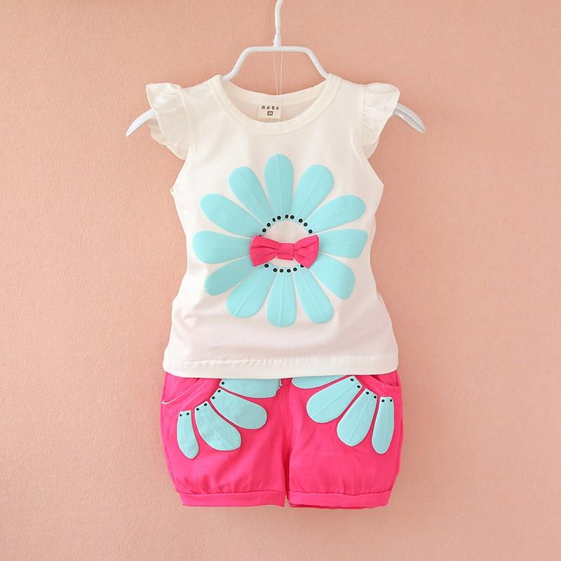 f3783858dca66 BibiCola fashion toddler baby girls summer clothing sets flower 2pcs girls  summer clothes kids sport suit set tracksuit set