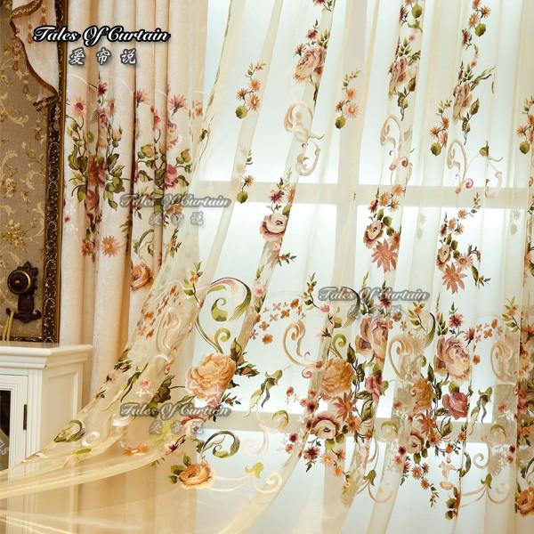 cortinas extravagantes com delicados bordados de flores f brica para ready made cortina de. Black Bedroom Furniture Sets. Home Design Ideas