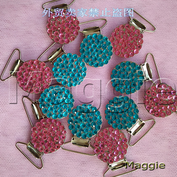 Free Shipping handmade 12Pcs Bling Bling rhinestone pacifier Duckbill clips Dummy 0holder Teethers clothes baby soother