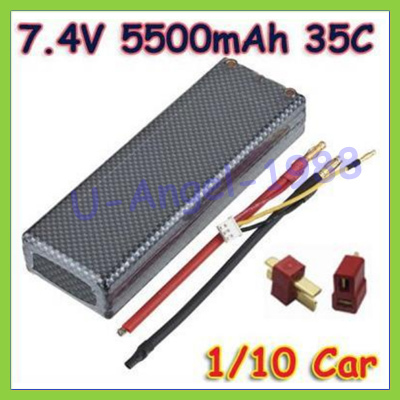 GE 7.4V 5500mAh 35C 2S RC LiPo Battery Hard Case For 1/10 RC Car Traxxas Tamiya