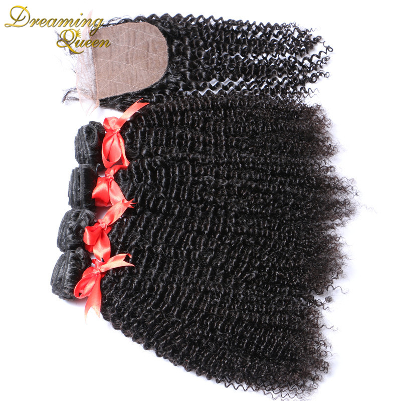 Mongolian Virgin Hair Kinky Curly With Silk Closure 3 Part Silk Base Closure With Bundles Cheap