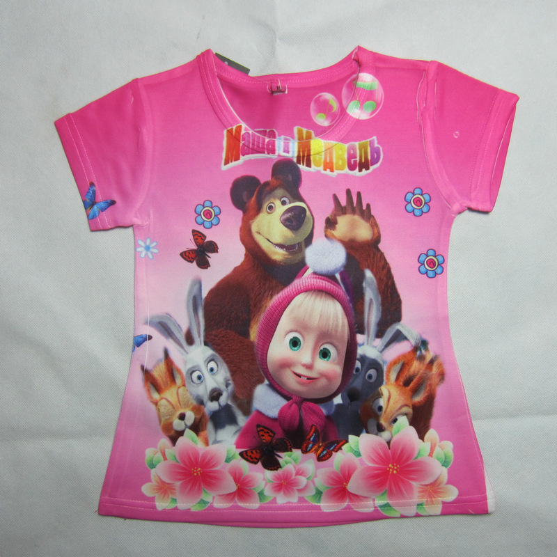 Summer Masha And Bear Fashion Baby Girls boys Cartoon T shirt Children T Shirts For Kids