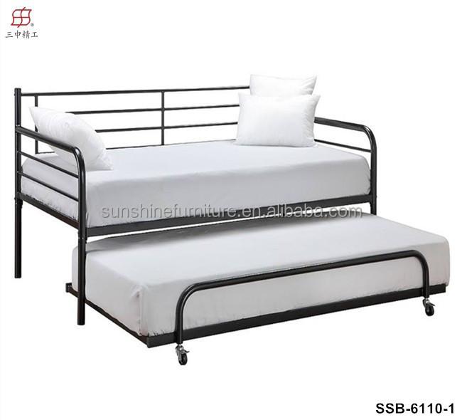 pas cher simple et moderne blanc m tal m ridienne avec lit gigogne. Black Bedroom Furniture Sets. Home Design Ideas
