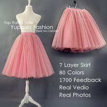 Custom-made 7 Layer Midi Tulle Skirt American Apparel Tutu Skirts Womens Petticoat Elastic Belt 2016 Summer faldas saia jupe