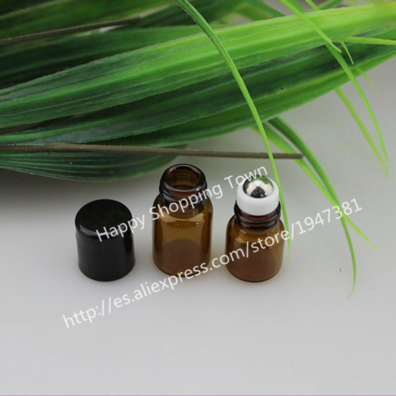 24pcs 1ml amber roll on roller bottles for essential oils