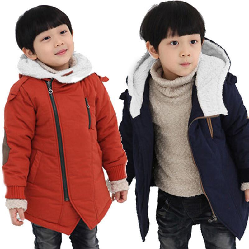 Boy Winter Jackets 2016 Add Cotton Cashmere Warm Hooded