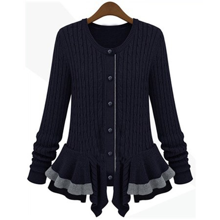 Navy Long Sleeve Cable Knit Ruffle Cardigan Sweater-in