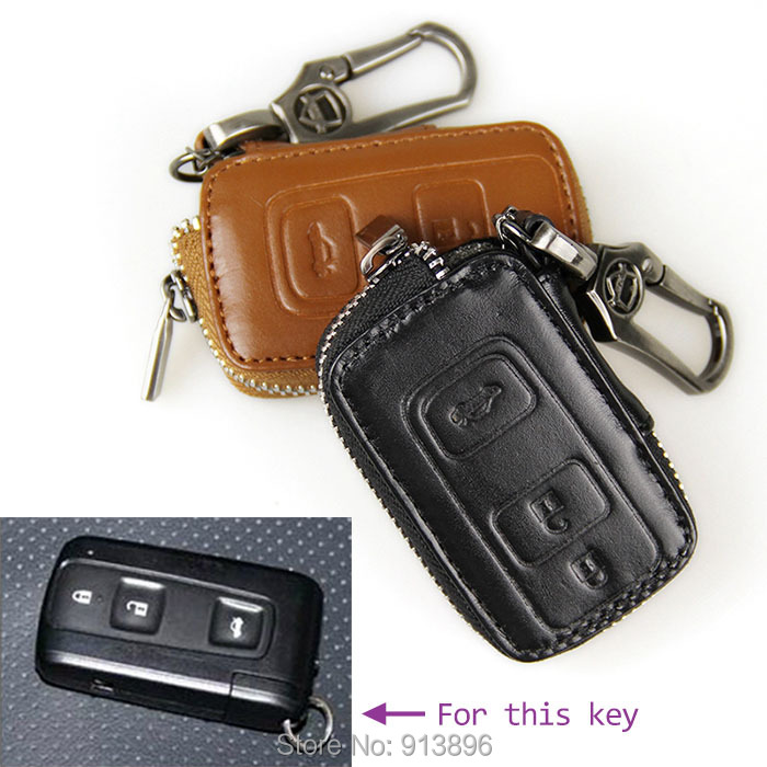 Abs Smart Remote Key Case Ring Shell Holder Cover For: Leather-car-key-fob-cover-for-New-Toyota-Crown-Prius-smart
