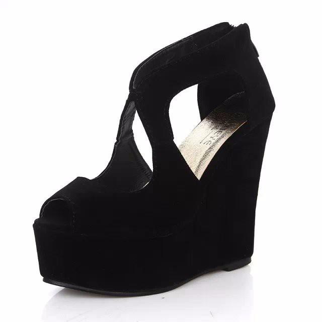 2015 FASHION Wedge High Heel Women Sandals Black Shoes Summer Fretwork Platform Sandal Gladiator Sandals Women sandalias LD53 (2)