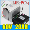60V 20AH LiFePO4 Battery Pack 1500W Electric bicycle Scooter lithium battery BMS Charger Free Shipping 75V