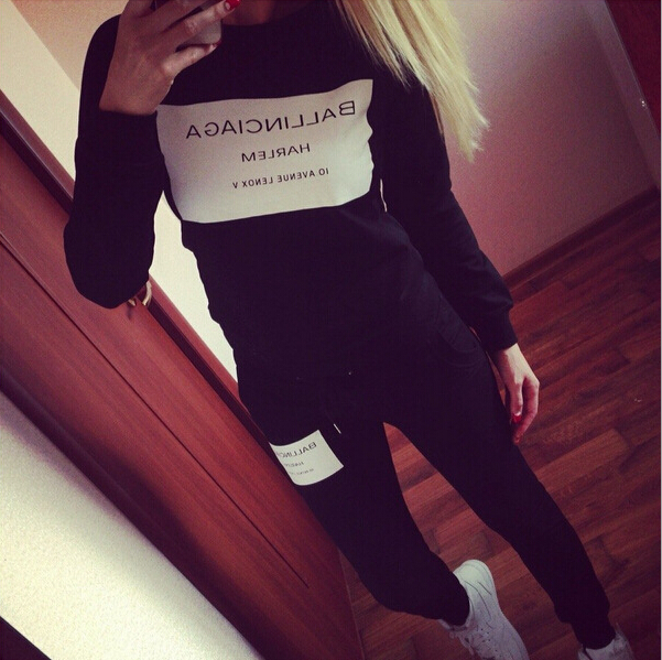 Euramerican style new style square printed letters Women s Sets casual sport long sleeved fleece suit