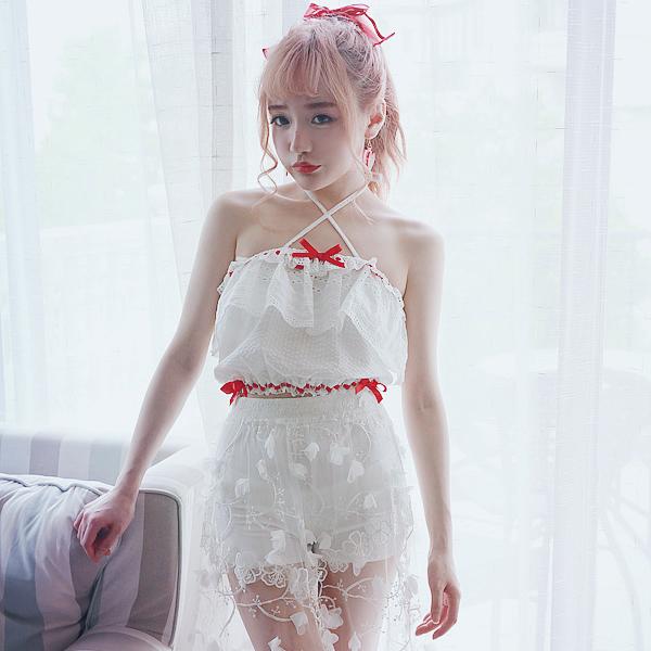Princess sweet lolita Tube Tops BOBON21 girl cotton sweet cross lacing tube tops with bow and