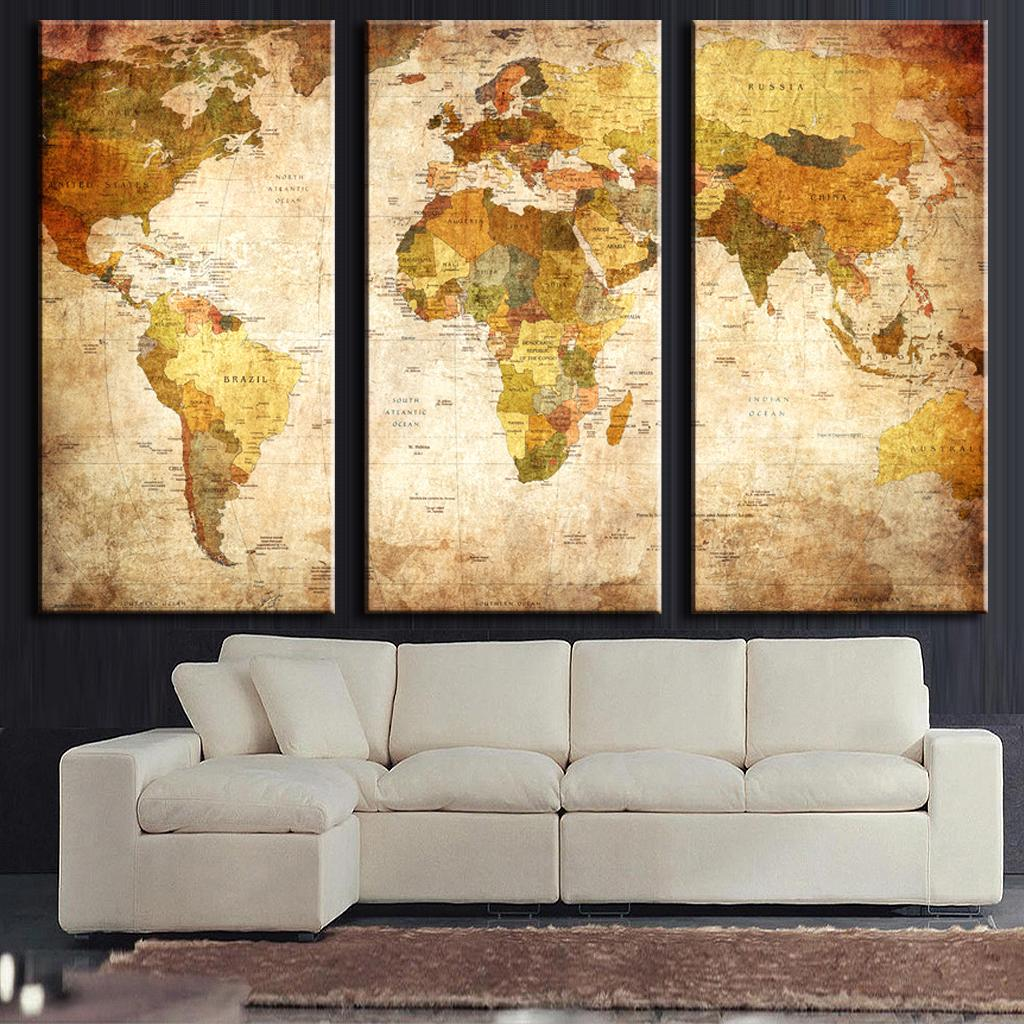3 Pcs Set Vintage Painting Framed Canvas Wall Art Picture