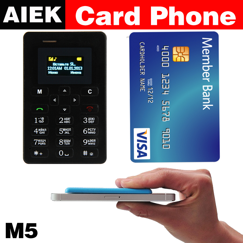 e9de6267858 Russian language NEW AIEK M5 Card Cell Phone 4 8mm Ultra Thin Pocket Mini  Phone Quad
