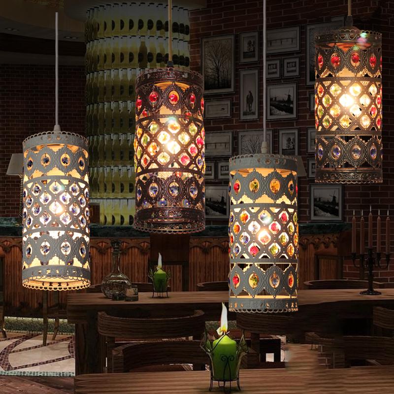 Mediterranean Style Lighting: Mediterranean Style Vintage Creative Crystal Pendant Light