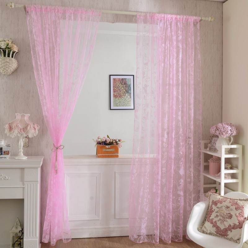 Newest 95 200 CM Romantic Pink Flocking Butterfly Gauze Curtain Screens For  The Living Room - us417 159a1cdd561a