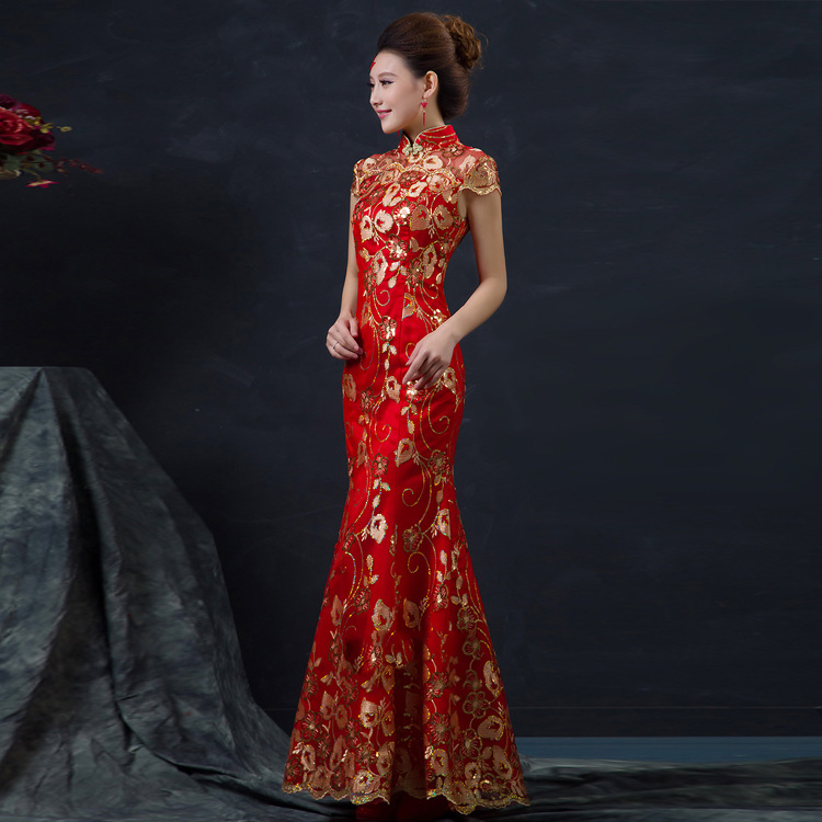 2019 Red Chinese Wedding Dress Female Long Sleeveless Women