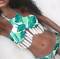 2016 Women Green Leaf Tassel Bikini Set Push Up Swimwear Retro Trikini Swimsuit Padding Bathing Suit