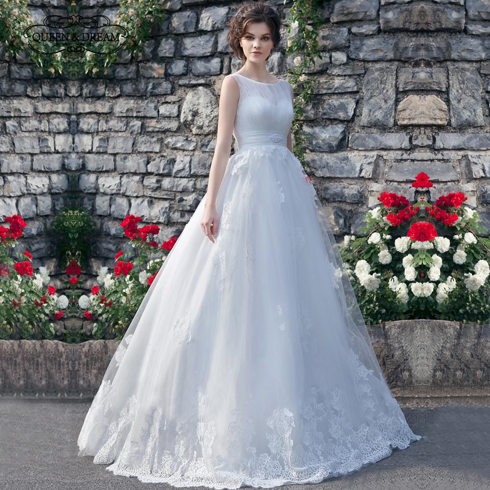Vestido De Noiva 2017 New Elegant Lace Applique Tulle: Elegant Lace Appliques Satin Tulle A Line Outdoor Wedding