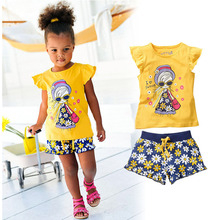 Girls Summer Casual Clothes Set Children Short Sleeve Cartoon T-shirt + Short Pants Sport Suits 2016 Girl Clothing Sets for Kids