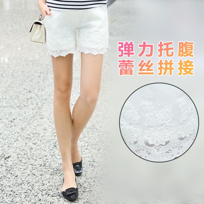 Чистого хлопка суперэластик беременных женщин брюки новый чистый и свежий и элегантный кружева беременных женщин шорты