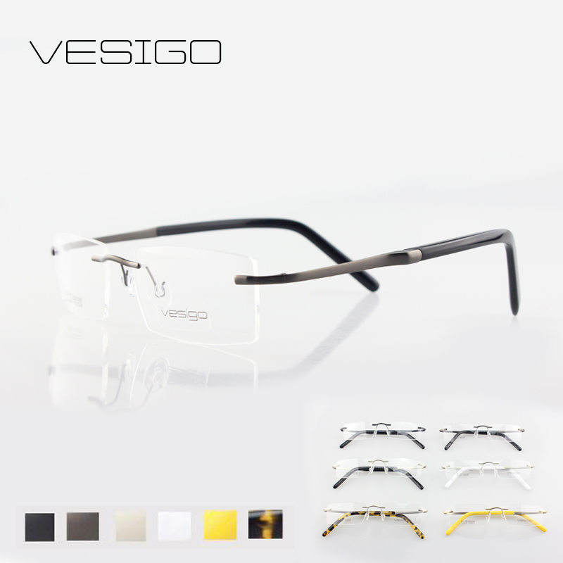 b58a78b92f01 Titanium Glasses Frame Men Rimless Eyeglasses high quality silhouette fold  optical myopia Frameless Prescription Glasses E1059