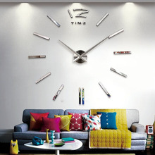 2016new arrival 3d big size home decor quartz diy wall clock living room metal Acrylic mirror oversize wall clocks free shipping
